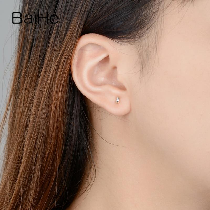 BAIHE Solid 14K Rose Gold 0.12ct H/SI Natuurlijke Diamanten Engagement Trendy Fijne Mode sieraden Man Vrouwen Gift stud Oorbellen - 5