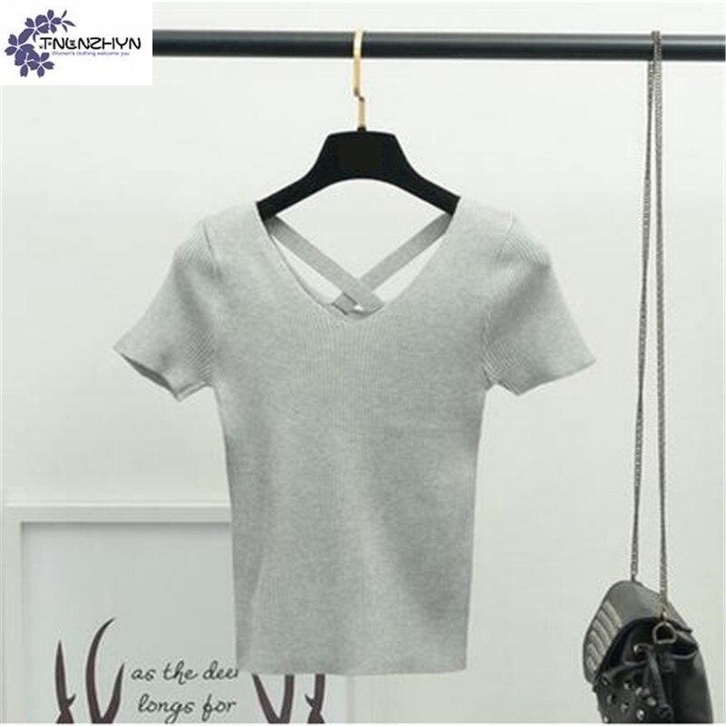TNLNZHYN 2017 Korean Stylish Sexy V-neck Backless Sweater Women Short Sleeve Sweater Fashion Stretch Female Knitting Tops TT731