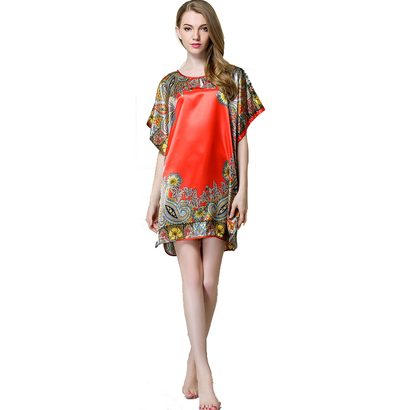 Women's Soft Silky Casual   Nightgowns   Women's Batwing Sleeve Floral   Nightgown     Nightgowns   &   Sleepshirts   Loose Housecoat