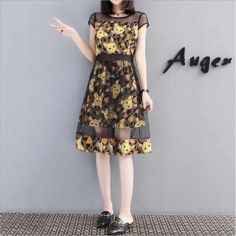 Summer L-5XL Fashion Chiffon Cats Print Mesh Dress For Women Short Sleeve Medium Long Plus Size Dresses Ladies Vestidos QC987