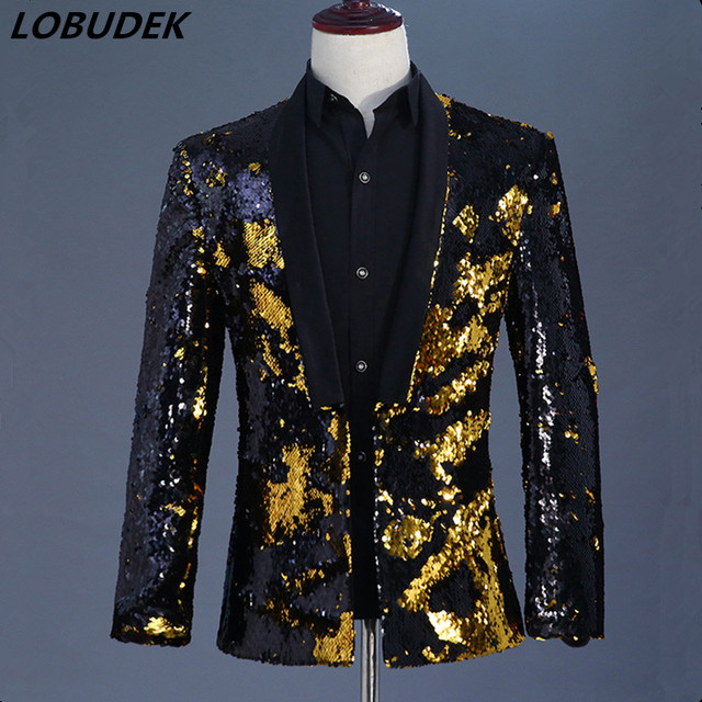 a9949b4db6 Men Gold Black Double Color Sequins Blazers Coat Tide Fashion Slim Jacket  Outerwear Prom Host DJ Nightclub Singer Stage Costume