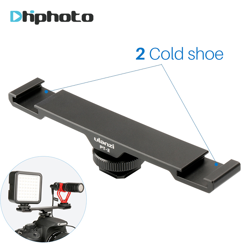 Ulanzi Microphone accessories Dual Hot Shoe Mount Extension Bracket Bar Plate Adapter 1/4 for BY-MM1