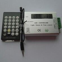 New 24 Key IR Remote 8 digital tube PWM dimmer led strip Intelligent Light Sensor&Time Controlled Controller;DC12-24V цена
