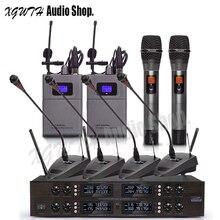 Цифровой UHF беспроводной микрофон системы с 4 Гусенек конференции 2 ручной 2 Lavalier Laval нательный передатчик