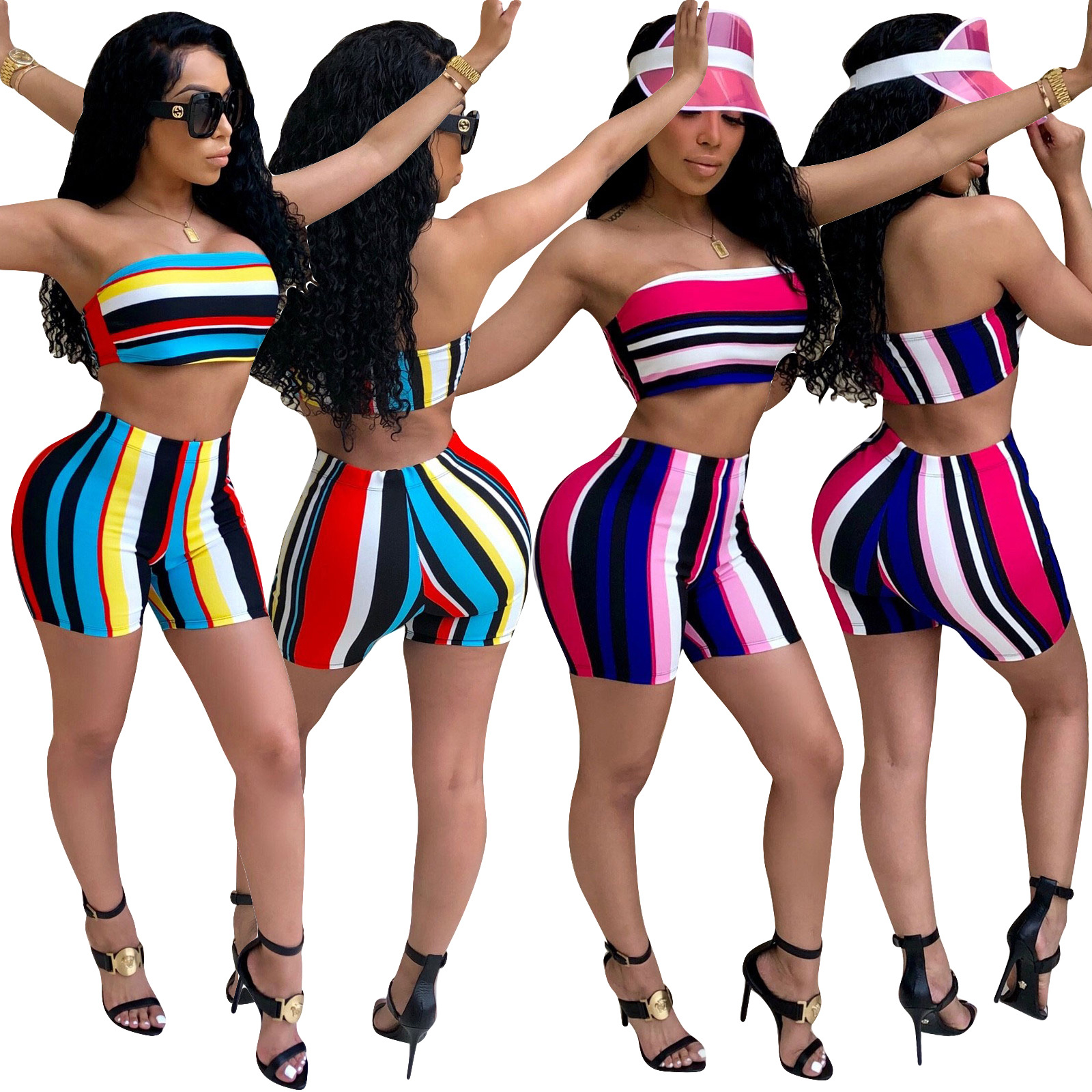 Causal Summer Nightclub Female Sets XXL Women Two Pieces Set Cropped Tops Zipper High Waisted Striped Shorts Suits