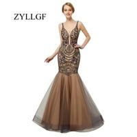 ZYLLGF Robe De Demoiselles D Honneurro Сексуальная спинки вечерние платья для Для женщин Русалка V шеи бисером Свадебная вечеринка платье ES5