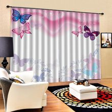butterfly pink curtains Luxury Blackout 3D Curtains For Living room Bedding room Office(China)