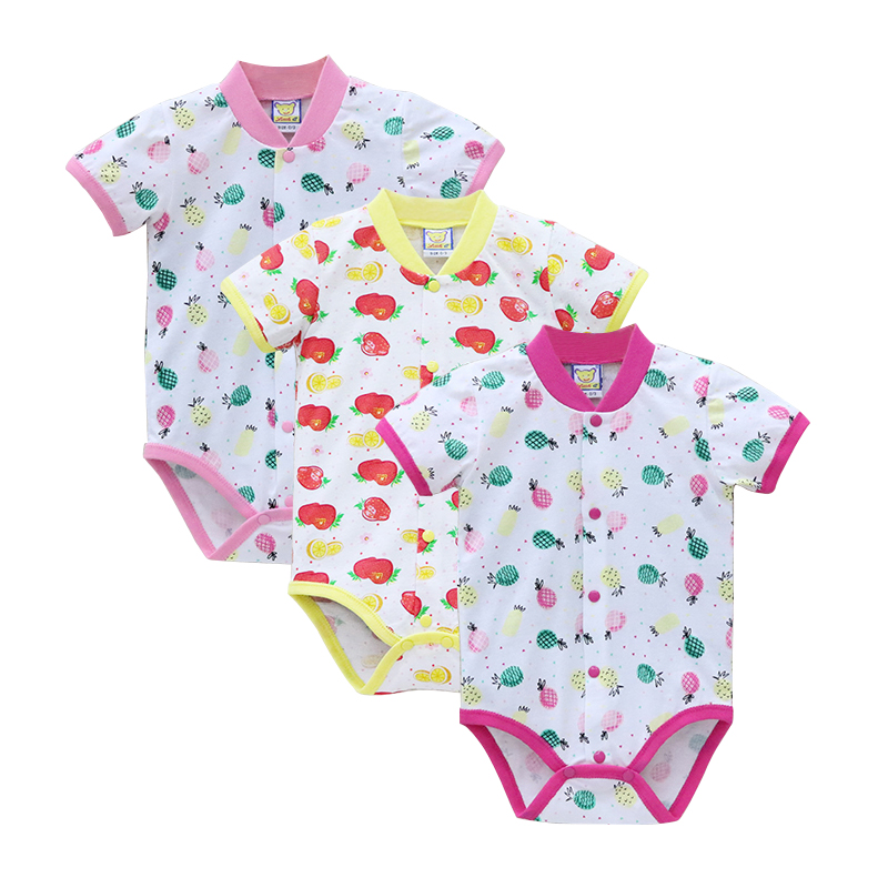 100% Cotton Newborn Bodysuits Baby 3pcs/lot Girls Jumpsuits Summer Short Toddler Clothing Fashion Clothes 2019 Children's Bodie
