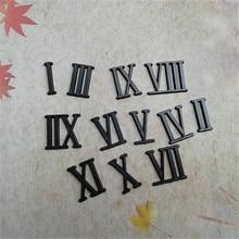 10 комплектов высота 2 см пластик черный цвет римские цифры для Кварцевые часы аксессуары