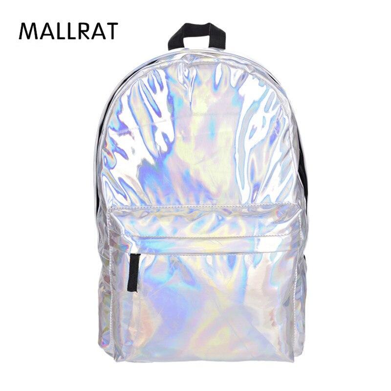 MALLRAT Leather Backpack Women Hologram Laptop Backpack For School Student Women's Laser Silver Color Holographic Bag backpacks men backpack student school bag for teenager boys large capacity trip backpacks laptop backpack for 15 inches mochila masculina