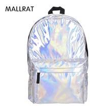 Mallrat кожаный рюкзак Для женщин голограмма ноутбук рюкзак для школьника Для женщин лазерная серебро Цвет голографическая сумка рюкзаки