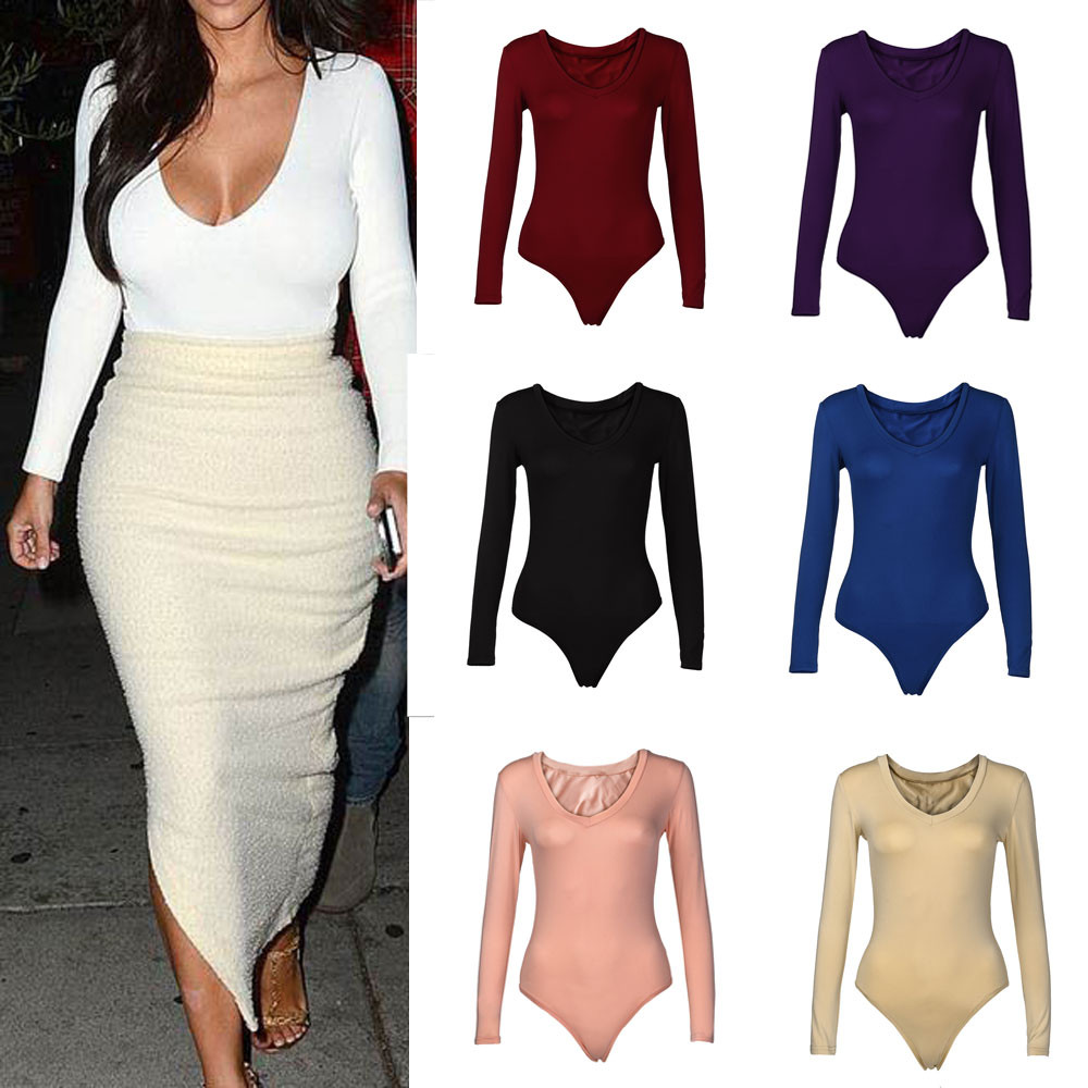 2019 New Fashionable Women Solid Color V-Neck Stretch Long Sleeve Plunge Tops Sexy Jumpsuit Hot Sale Skinny Bodysuits For Ladies