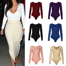 2019 New Fashionable Women Solid Color V-Neck Stretch Long Sleeve Plunge Tops Sexy Jumpsuit Hot Sale Skinny Bodysuits For Ladies caged neck skinny solid jumpsuit