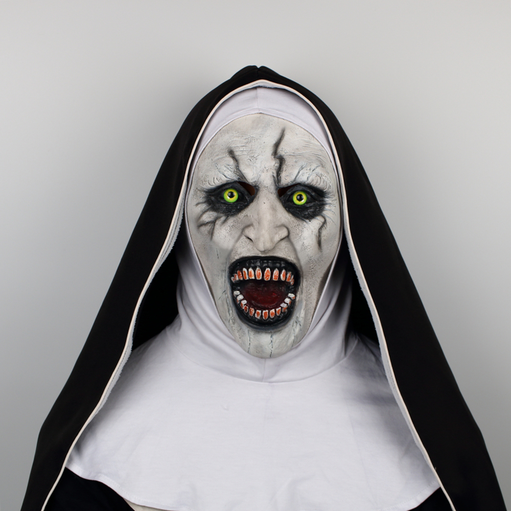 2018 The Nun Horror Mask The Conjuring Valak Cosplay Mask Full Head Horror Scary Halloween Party Props (2)