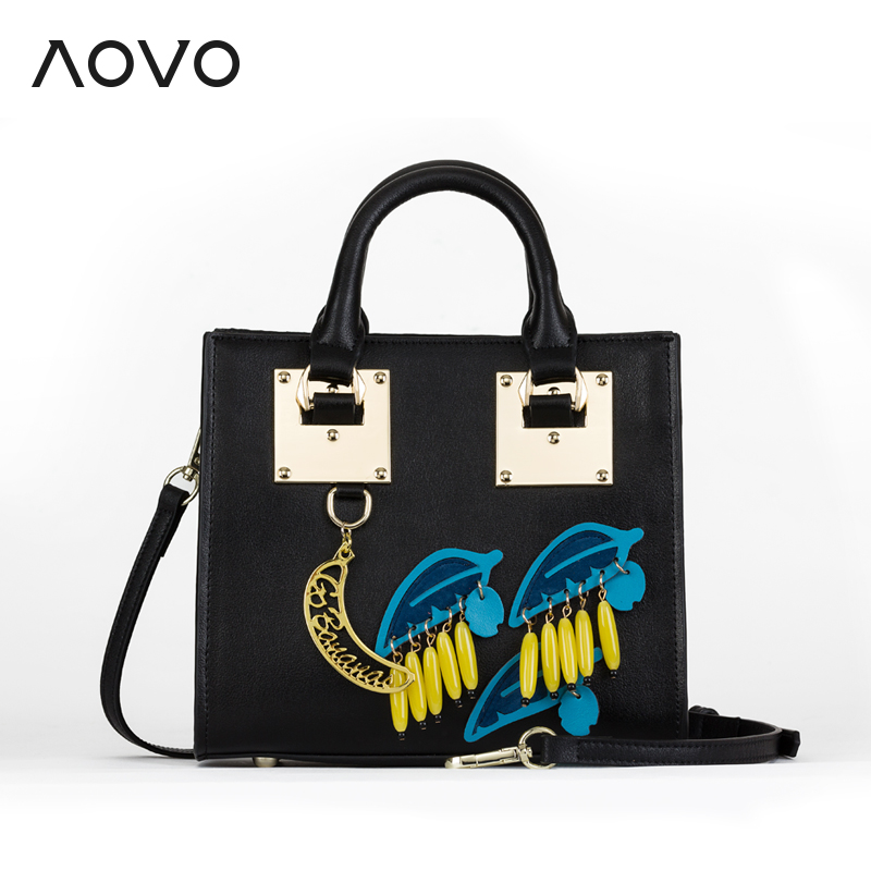 AOVO Beautiful Super Star Same bag Fashion Banana Handbag Small Cowhide leather women Flap bags beautiful darkness