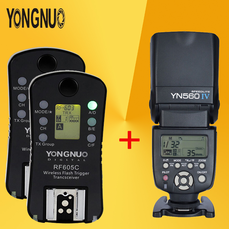 YONGNUO YN560 IV YN560IV Wireless Master Radio Flash Speedlite + 2pcs RF-605C RF605 LCD Wireless Trigger For Canon DSLR Cameras yongnuo 3x yn 600ex rt ii 2 4g wireless hss 1 8000s master flash speedlite yn e3 rt flash trigger for canon eos camera 5d 6d