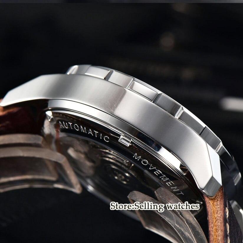 44mm Parnis SS Funda de cuero luminoso GMT impermeable mecánico automático reloj de hombre-in Relojes mecánicos from Relojes de pulsera    3