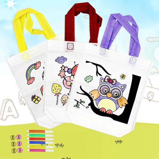 Besegad 3pcs Kid Diy Drawing Craft Cartoon Bag Tote Handbag With Pen Decoration Rhinestone Children Educational