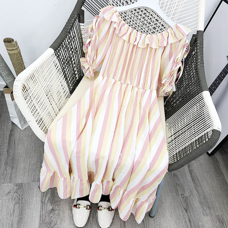 3G Small fresh Korean version of the slim sexy strapless stripes contrast color elastic waist long