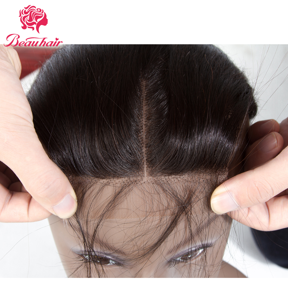 Beau Hair 4 x 4 Brazilian Closure Straight Human Hair Free/Middle/Three Part Lace Closure 8-20 Natural Color Free Shipping