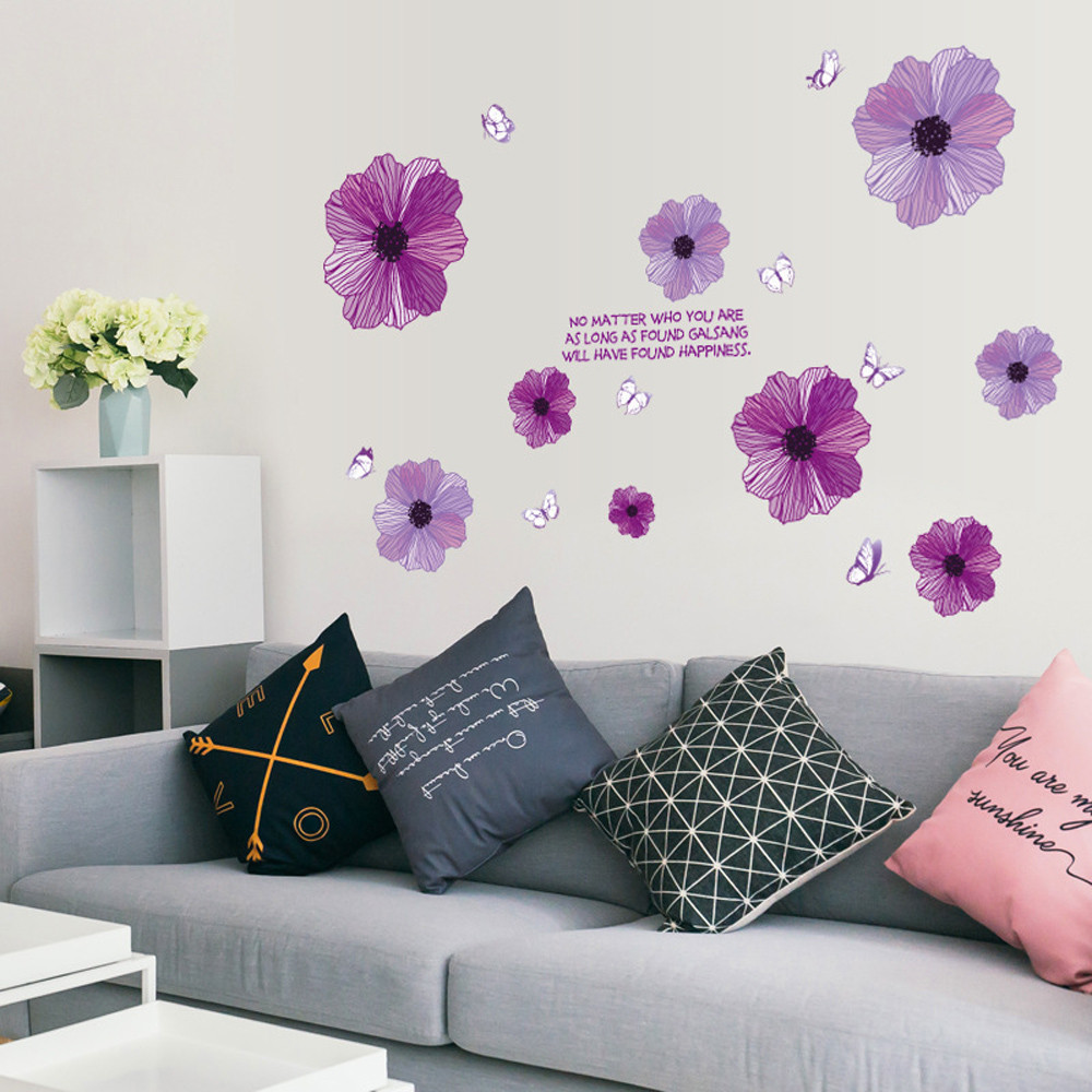 Purple Flower Butterfly Wall Stickers Removable TV Background Wall ...