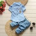 2016 No Verão Pequeno Meninos Camisa Listrada Com Calça Jeans Calças Curtas Ternos Único Breasted Camisa Set