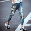 In the summer of 2016 new men's jeans Haren slim pants nine ankle banded pants jeans increase small yards 28-36 hot sale