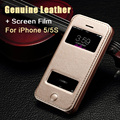 Real Original Genuine Leather Stand Flip Smart Case for Apple iPhone 5 5S 5G Phone Bag Back Cover With Double View Window