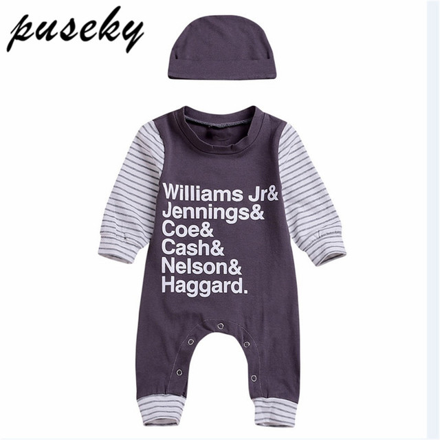 852b18a784e0 Baby Rompers Long Sleeve Cotton Letter Printed Jumpsuit Baby Infant ...