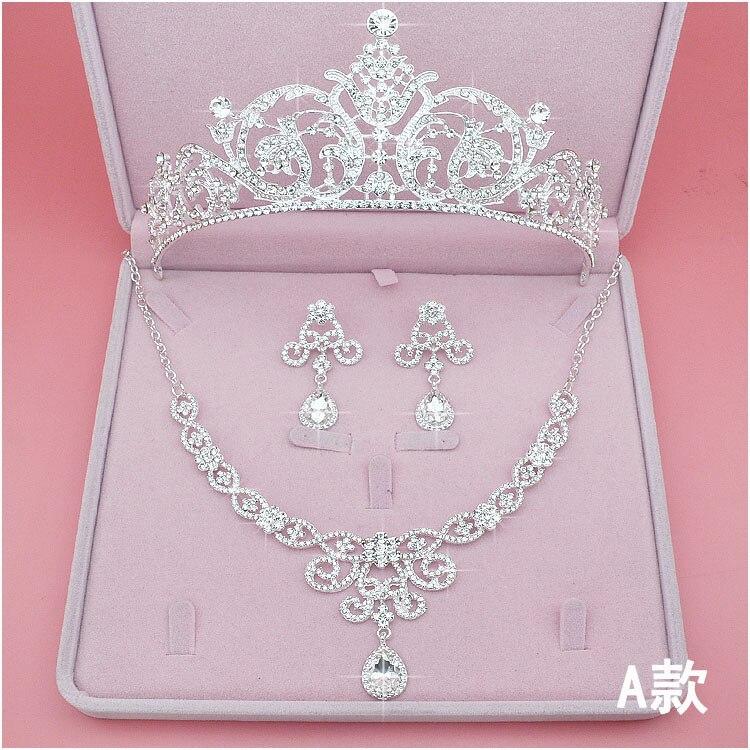 Corona y Tiaras de boda con diamantes de imitación, conjunto de joyas para el cabello para novia, collar, pendientes, diademas para mujer