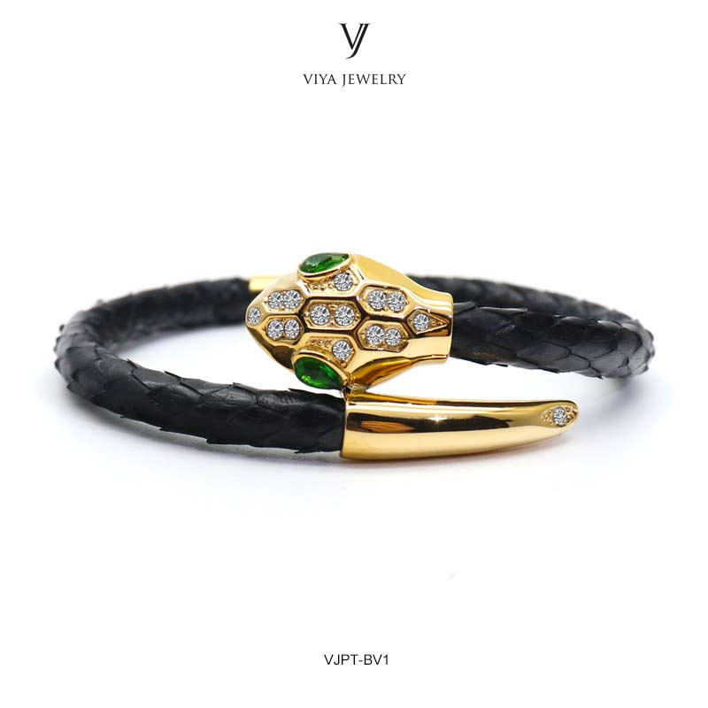VJPT-BV1---Python leather snake bracelet ,fashion snake head Python leather bracelet,charms snake bracelet women men (33)