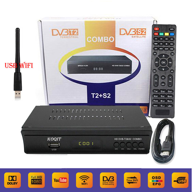 KOQIT V7 Iptv Combo Digital Terrestrial Satellite Receiver DVB-S2 DVB-T2 Decoder Vu Biss Cline Newcam Youtube + 1pcs USB Wifi