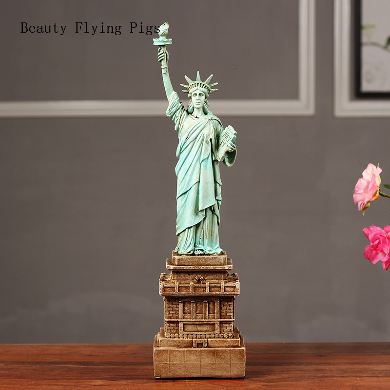 Creative American Freedom Goddess Sculpture Decoration Home Living Room Decoration New House Model House Art Figure Statue(China)