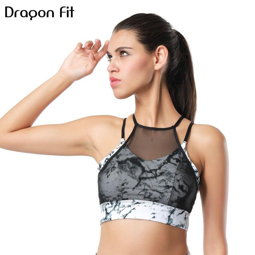 9936b55c2573b Dragon Fit New Women Mesh Sports Bra Breathable Athletic Running Fitness  Bras Seamless Push UP Quick Dry Gym Yoga Bra For Girls