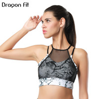 Dragon Fit New Women Mesh Sports Bra Breathable Athletic Running Fitness Bras Seamless Push UP Quick
