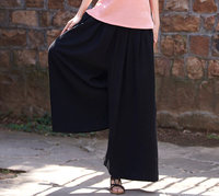 Wide Leg Pants For Women Plus Size Elastic Waist Balck White Coffee Cotton Linen Casual Capris