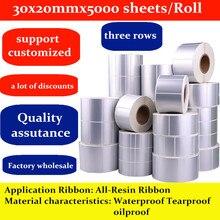Термотрансферная азиатская Серебряная бирка для животных 30x20mmx5000 листов/рулон водонепроницаемый Tearproof oilproof принимаем на заказ