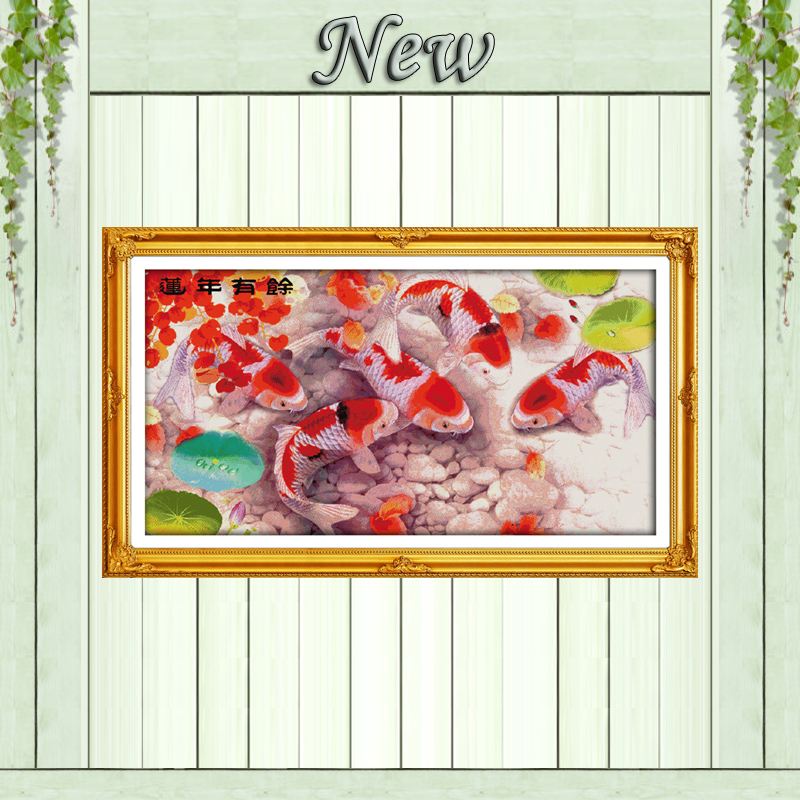 Package Qualified Nine Fishes Play With Lotus Animals Decor Dms Needlework Kits Counted Print On Canvas Dmc Embroidery Sets 14ct 11ct Cross Stitch