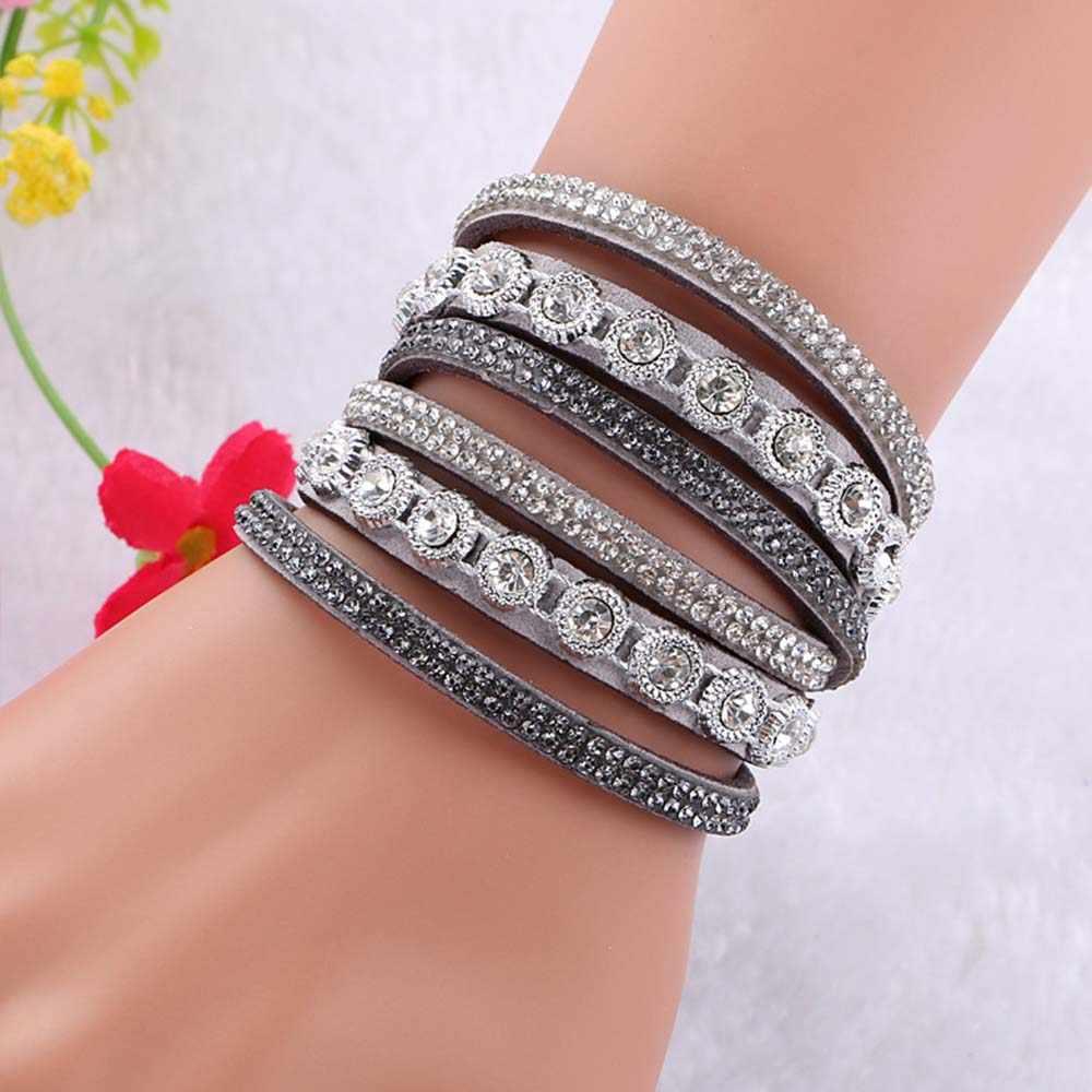 Lubingshine Vrouwen Multilayer Bangles Europese Stijl Multi Kleuren Fluwelen Crystal Armband Vintage Handgemaakte Hand Sieraden