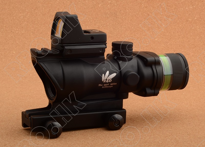 Tactical 4x32 green Fiber Optics rifle scope and red dot sight hunting shooting