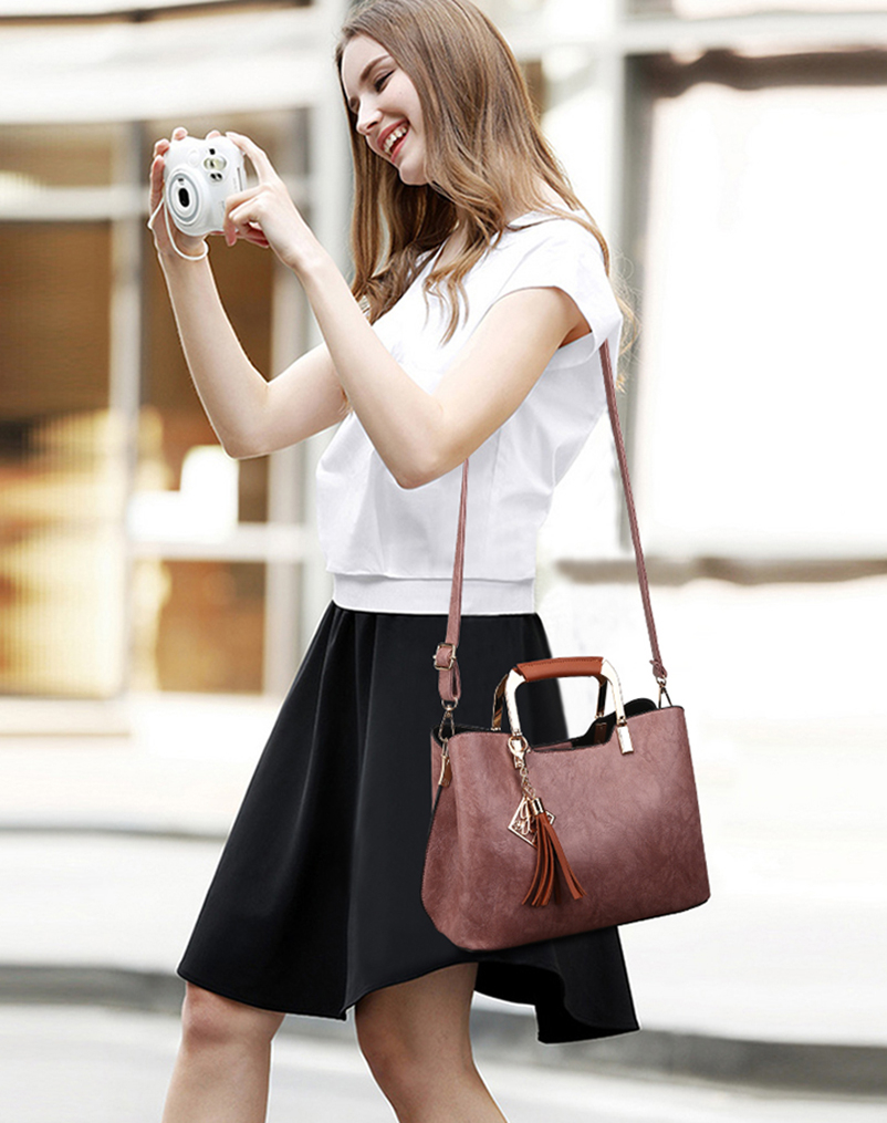 Nevenka Brand Design Women Luxury Handbags Female Tassel Sequined Messenger Bag Quality Leather Tote Solid Zipper Evening Bags05