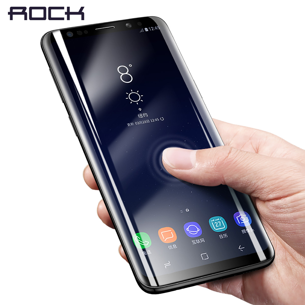 For Samsung Galaxy S9 Curved Glass ROCK Soft High Definition font b Slim b font Hydrogel