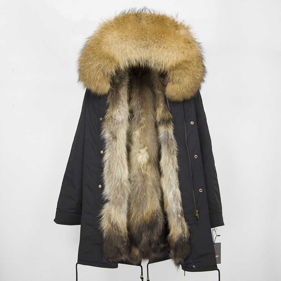 2019 Real Fur Coat Winter Jacket Women Long Parka Waterproof Big Natural Raccoon Fur Collar Hood Thick Warm Real Fox Fur Liner 97