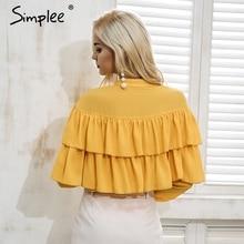 Simplee Elegant ruffles white blouse shirt women tops 2018 Long sleeve cool summer blouse Casual blusas chemise femme blusas new
