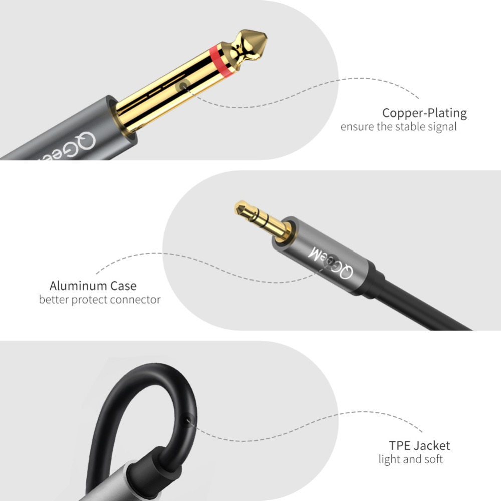 Image 5 - QGEEM Jack 3.5mm to 6.35mm*2 Adapter Audio Cable for Mixer Amplifier Speaker Gold Plated 6.5mm 3.5 Jack  Splitter Audio Cable