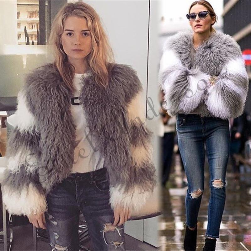 ETHEL ANDERSON Mongolia Sheep Fur Coats Women Lamb Fur Jacket Winter Splice Double Colors Nine Quarters  Female  Multi-colors