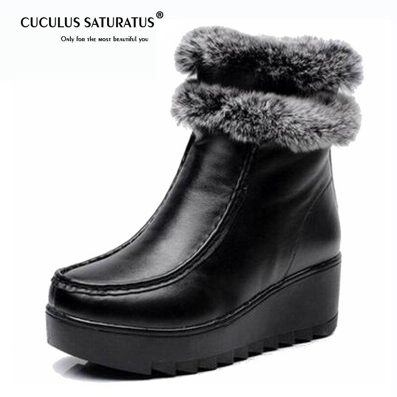 5f3a72db625505 Véritable Peau En Zip Fourrure Vache Botas D'hiver Noir Cuculus Bottes  Peluche De Femmes Cheville ...