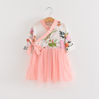 2018 Spring Boutiques Children Girls Baby Mesh Flower Dresses Wholesale Princess Party Clothes Chinese Style Clothing