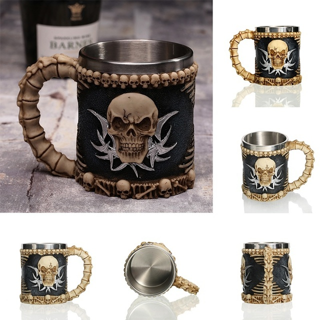 1Pcs 3D Axe ePacket Handle Viking Warrior 450ML Skull Mug Gothic Tankard Halloween Decoration Skeleton Cup Beer Stein Man Gift 4