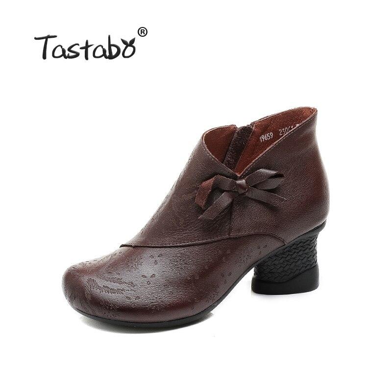 Tastabo Vintage hoge hak vrouwen laarzen Zwart bruin dames schoenen Comfortabele casual schoenen slijtvast rubberen zool Handgemaakte-in Enkellaars van Schoenen op  Groep 2